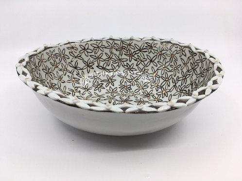 "Oval Porcelain ""Daisy"" Bowl"