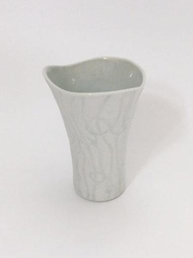 Petite Porcelain Vase with an Unglazed Loop Pattern