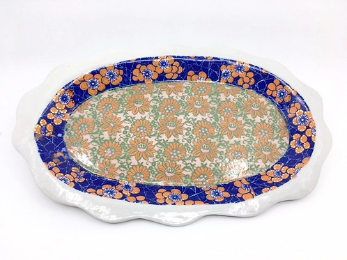 Large Porcelain Tray with Orange & Blue Hand-Painted Decals