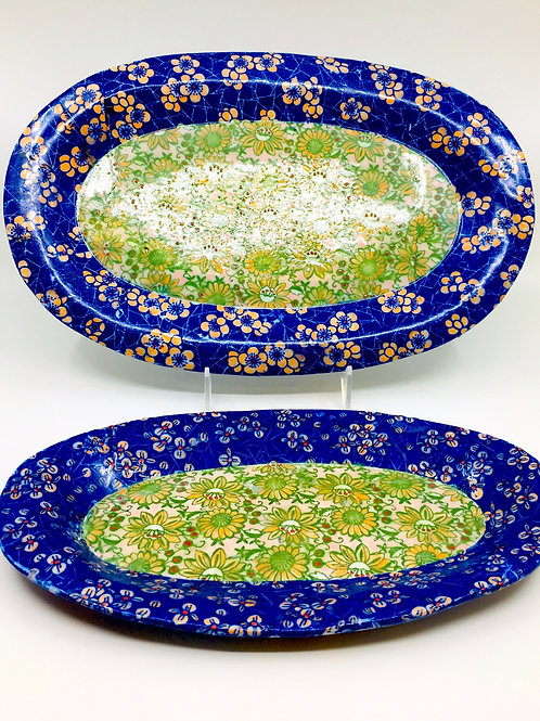 Set of Two Porcelain Serving Trays