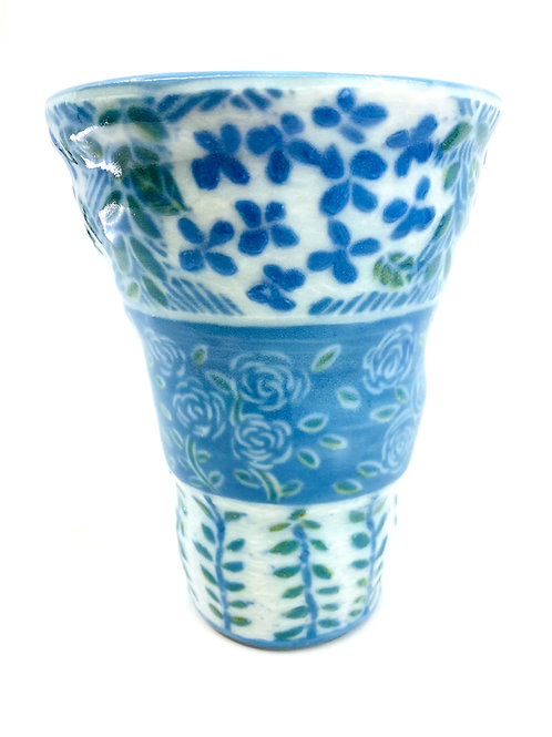 Porcelain Vase with Blue/Green Slip and Hand Drawn Floral Pattern