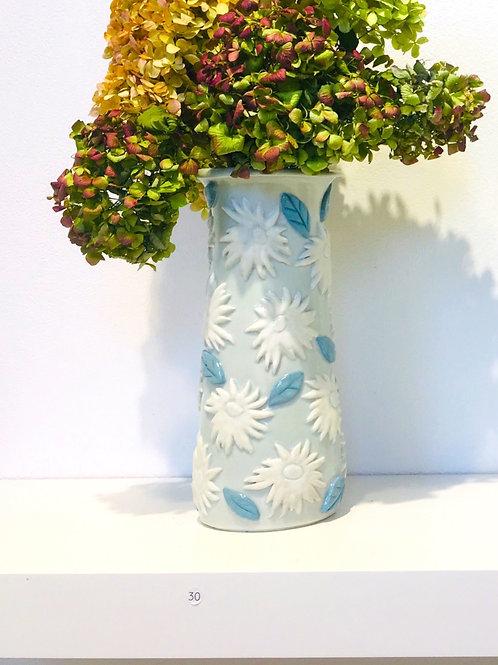 Porcelain Vase with Appliqué Flowers and Blue Leaves