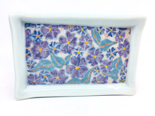 Porcelain Hand Painted Tray with Lithographed Floral Pattern