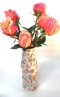 S. Rosenstein, tall floral vase in pinks and corals 2018.jpg