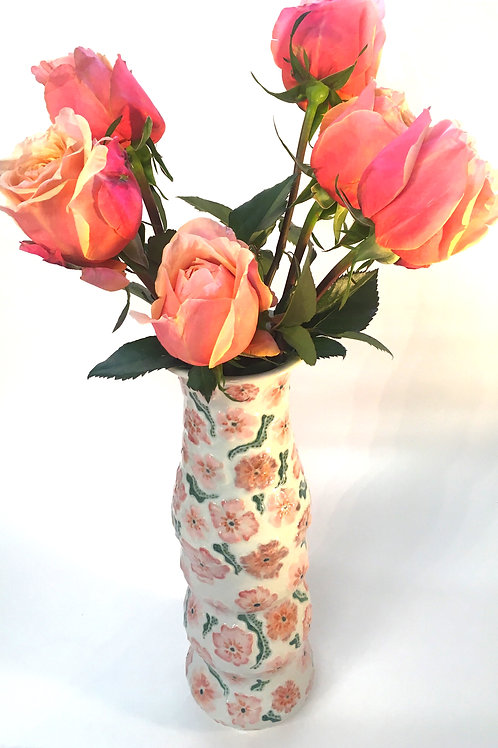 A Hand Painted Vase with Rose & Coral Floral Pattern in Relief