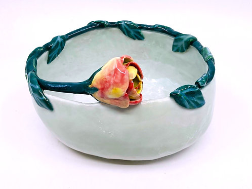 Porcelain Oval Bowl with One Rose