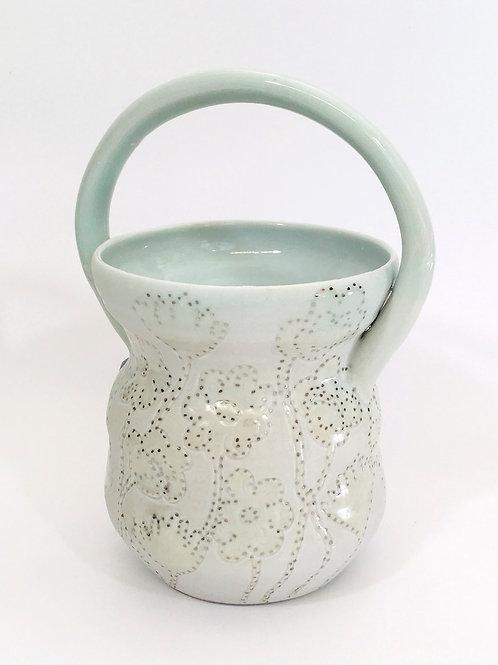 Porcelain Flower Basket with Platinum Luster