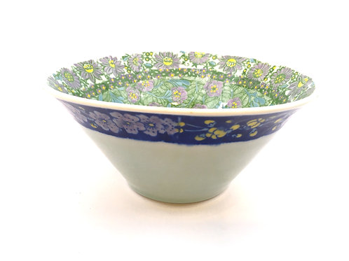 Porcelain Bowl with Four Chinese Decal Floral Patterns