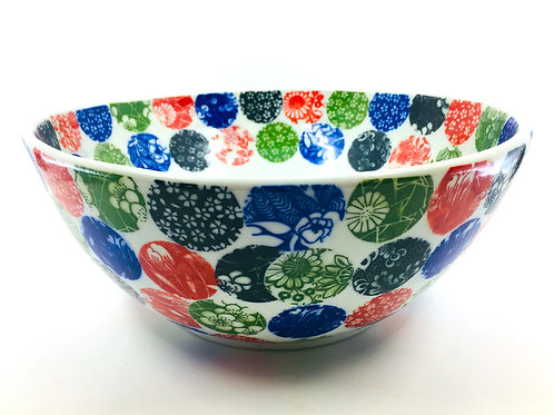Porcelain Bowl with Chinese Rice Paper Underglaze Transfers in Circle Pattern