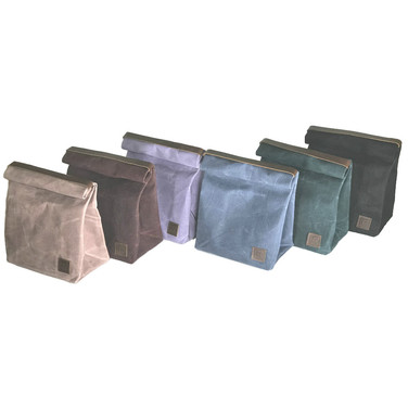 Waxed Canvas Lunch Bags with Leather Handles and Brass Snap Closures.  These Bags Will Last a Lifetime!