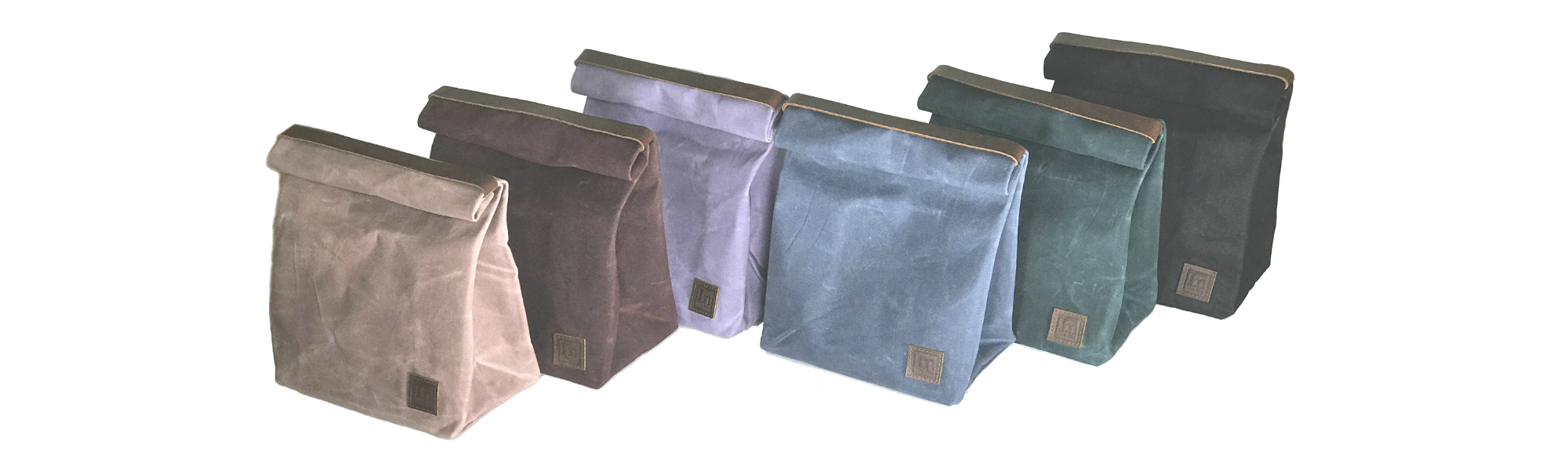Waxed Canvas Lunch Bags with Leather