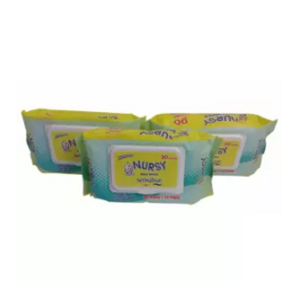 Nursy Baby Wipes Unscented 80 Sheets 3 Packs