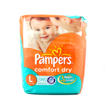 PAMPERS COMFORT DRY LARGE 20'S