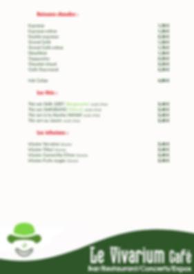 Carte des boissons sans alcool (page 2).