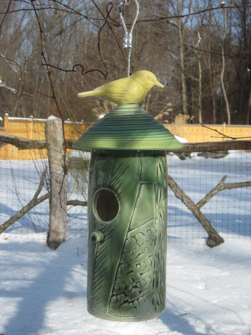 Green Silo Bird Feeder