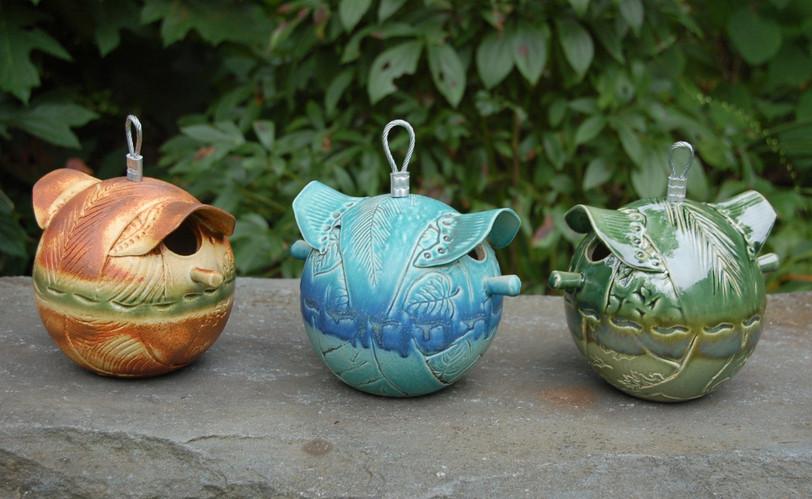 Three Small Round Bird Feeders