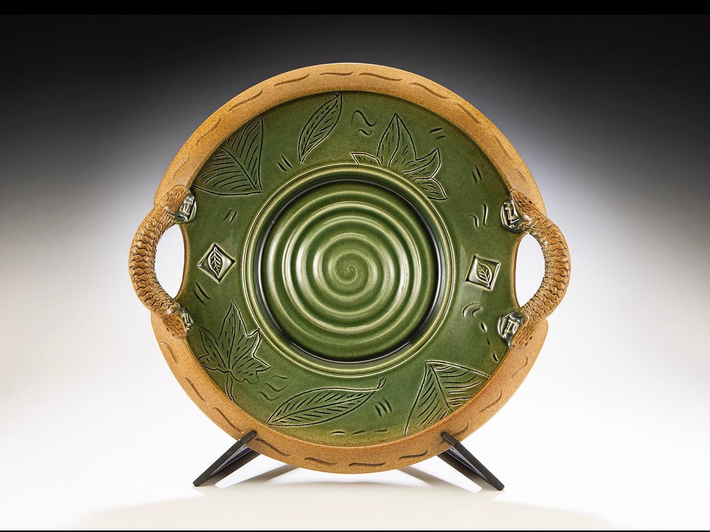 Green Glaze Handled Plate