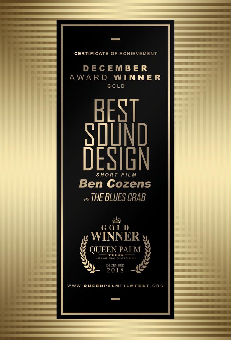 QPIFF GOLD AWARD CERTIFICATE - BEST SOUN