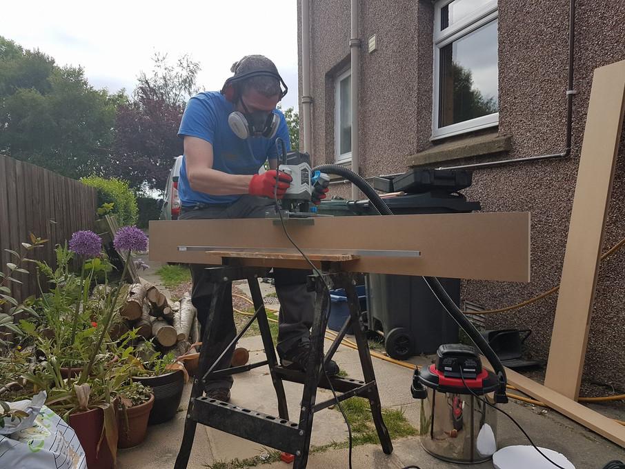 Prepping timber for shelving