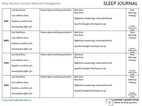 1-Week Sleep Journal