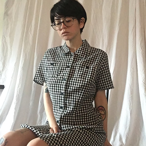 Vintage Checkered Collared Button Up Dress