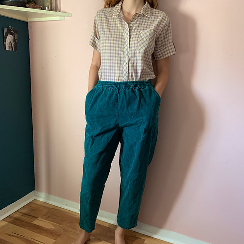Highwaisted Corduroy Turquoise pants