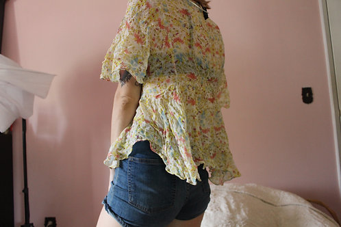 Sheer Yellow Floral Blouse