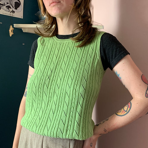 Lime Green Sweater Vest Shirt