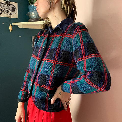 90s Schoolgirl Plaid Button Up Sweater