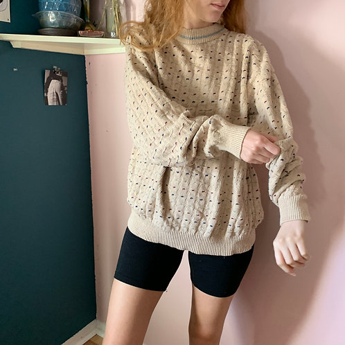 Vintage Cream and Speckled Sweater
