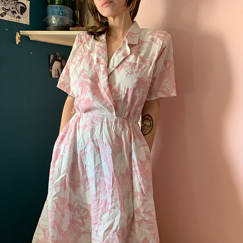 Pink Hawaiian Collared Dress