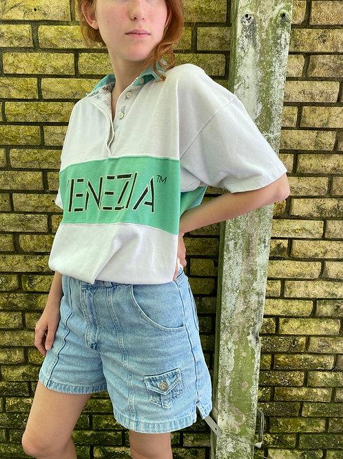 White and Green Venezia Collared Shirt