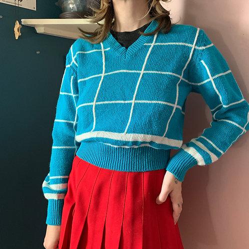 Vintage Cropped Blue Striped Sweater