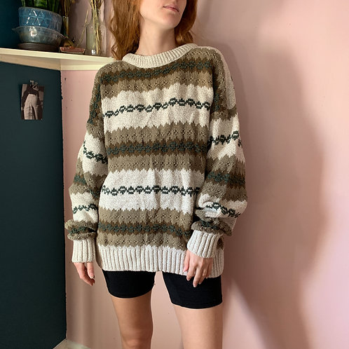 Vintage Cream Striped Sweater