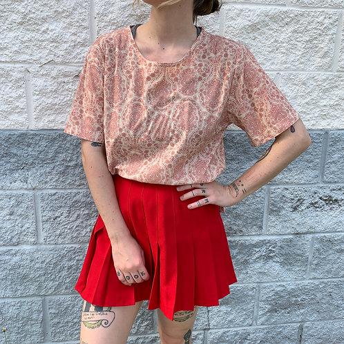 Orange-Red Patterned Blouse