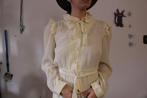 Vintage 70s Prairie Dress in Cream