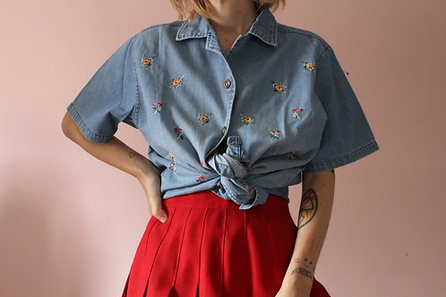 Vintage Denim Embroidered Button Up