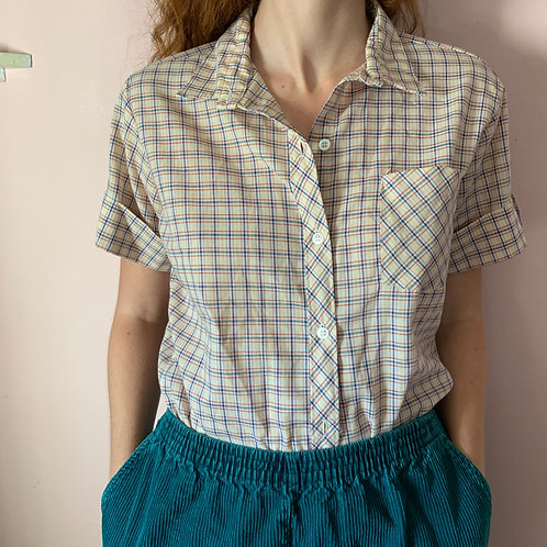 Collared Plaid Workers Button Up
