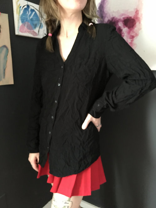 Black Buttoned Collared Shirt