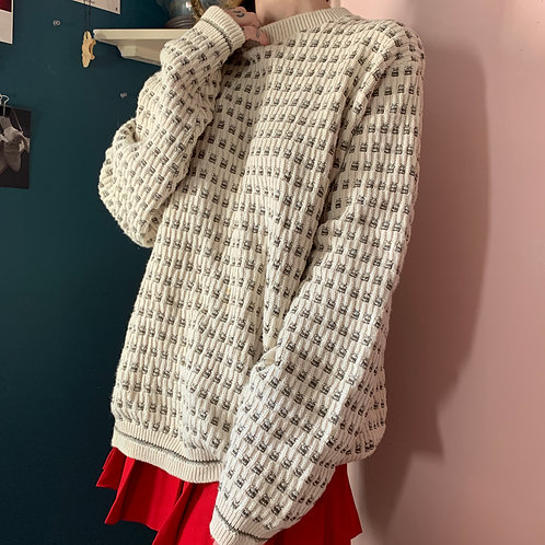 Vintage Cream and Dotted Sweater