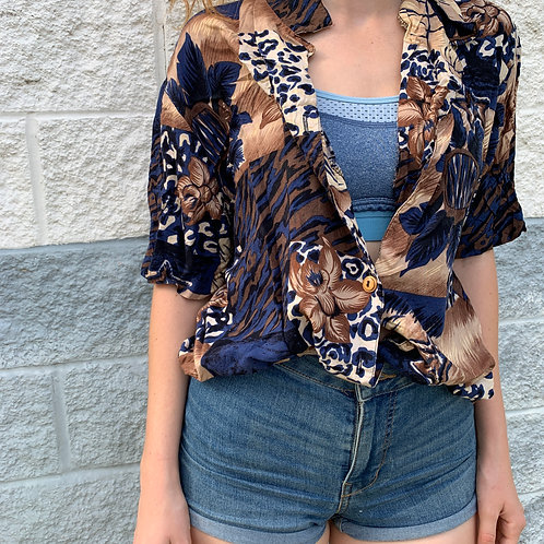 Leopard Print Collared Shirt