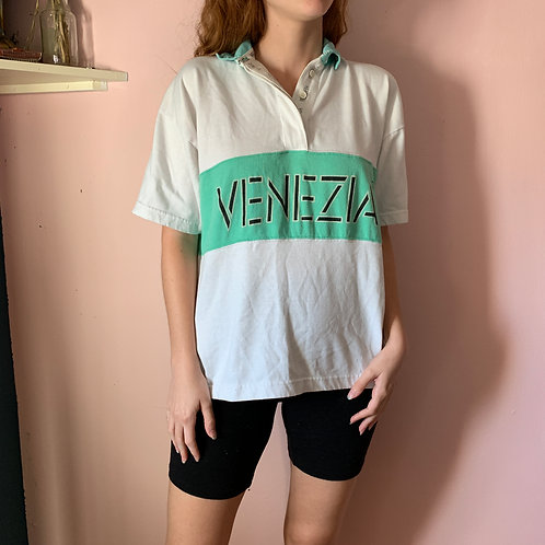 White and Green Venezia Collared Shirt