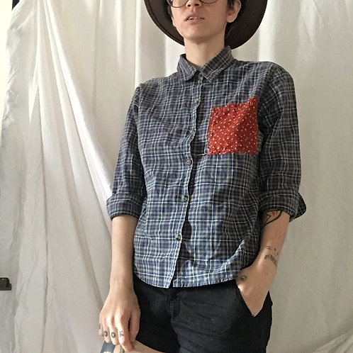 Upcycled Plaid Shirt Womens Small