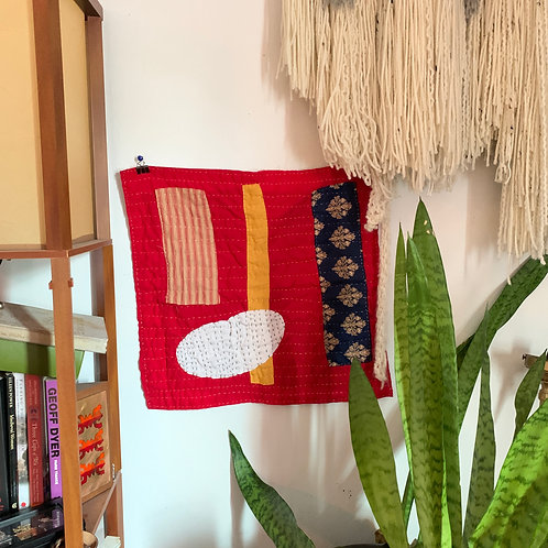 Quilted Wall Hanging Red Lady