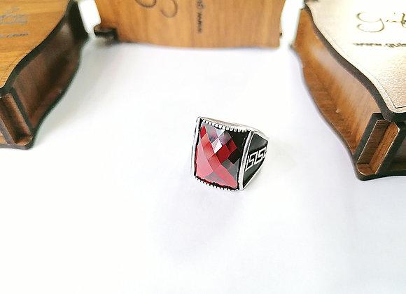 Kırmızı Zirkon Taşlı Erkek Gümüş Yüzük 01