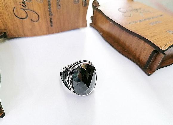 Siyah Onx Taşlı ince İşçilikli Erkek Gümüş Yüzük