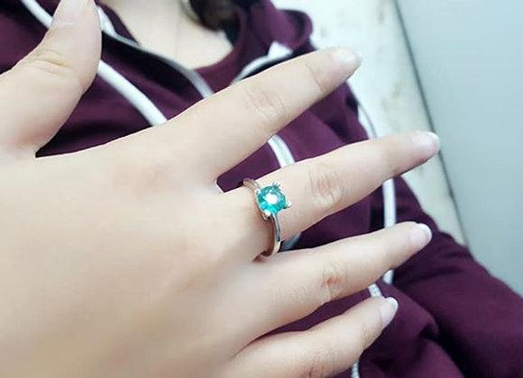 Yeşil Taşlı Bayan Gümüş Yüzük