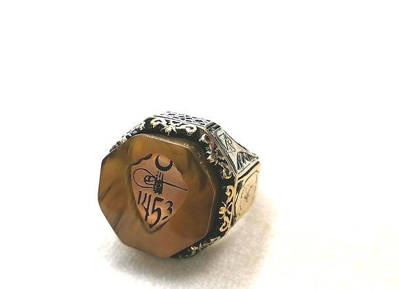 1453 Kehribar Gümüş Yüzük