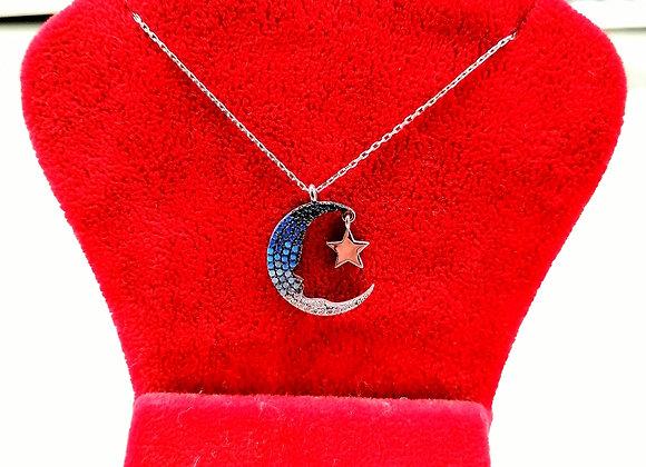 Mavi ve Beyaz Taşlı Atatürk Kolye