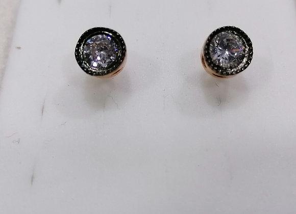 Elmas Modeli Rose Renkli Gümüş Küpe